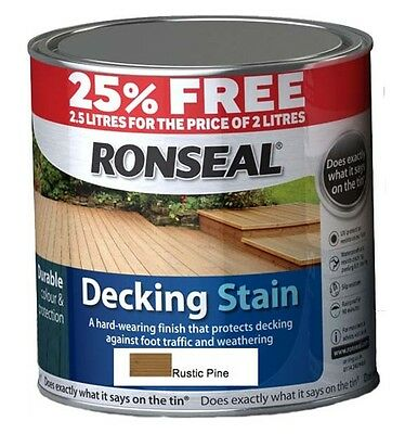 Ronseal Decking Stain 2L+25% Free Garden Timber Wood Protection Rustic Pine