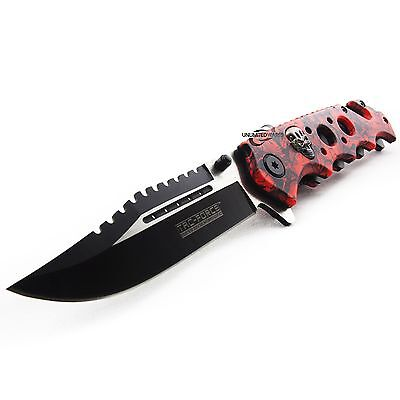 "8.25"" RED SKULLS SPRING ASSISTED FOLDING KNIFE Blade Pocket Assist Open Switch"