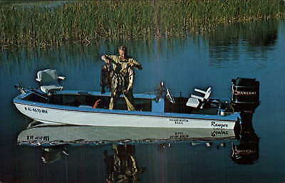 Fishing Boat Mercury Outboard Motor Everglades FL Postcard