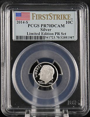 2014 S Silver Roosevelt Dime Limited Edition Proof Set PCGS PR70 First Strike