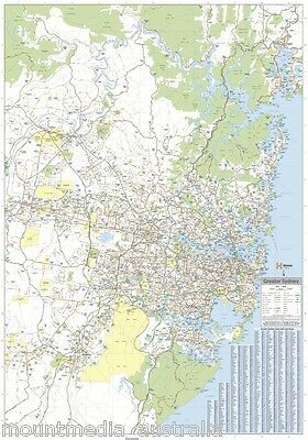 (LAMINATED) MAP OF GREATER SYDNEY & REGION POSTER (70x100cm) WALL CHART NSW ROAD
