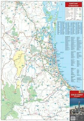 MAP Of Gold Coast & Hinterland POSTER (70x100cm) Wall Chart Qld Road Guide Pic