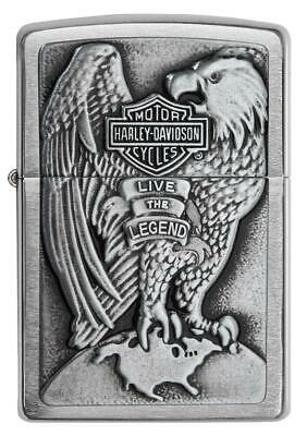 Zippo Harley Davidson Chrome Lighter With Emblem, Item 200HD.H231, New In Box