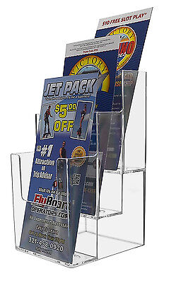 "Clear Acrylic 3 Pocket, Tiered Brochure Holder for 4""W Literature"