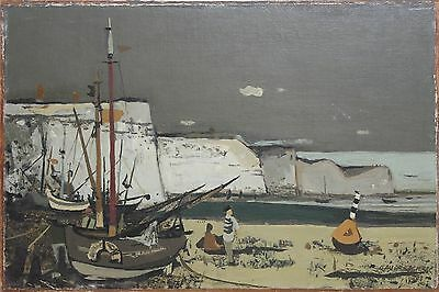 CLAUDE ROEDERER-French Artist-Original Signed Oil-Boat Harbor-Coastal/Seascape