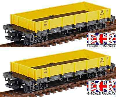 2 Yes A Pair G Scale Flat Bed Truck Yellow Freight Garden Rolling Stock Train
