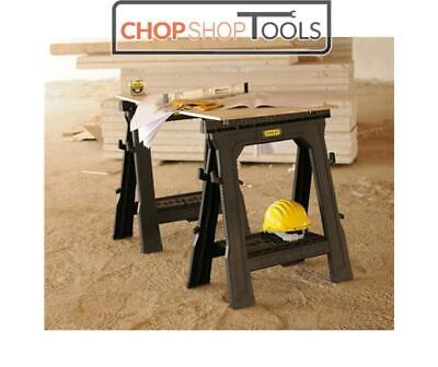 Stanley Folding Saw horse With Shelf Twin Pack Trestles STA170713