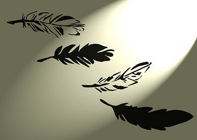 Shabby Chic stencil Feathers x6 Rustic Vintage style A4 297x210mm wall french
