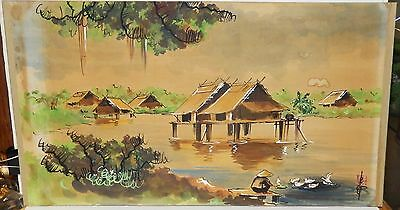 Old 19Th Century Vietnam Village Ducks Watercolor Landscape Painting Signed