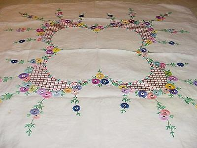 "Estate Arts & Crafts Silk Embroidery 40"" Square Table Cloth Colorful Flowers"