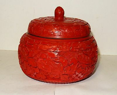 Large Chinese Floral Carved Cinnabar Lacquer Enamel Bowl Jar Box