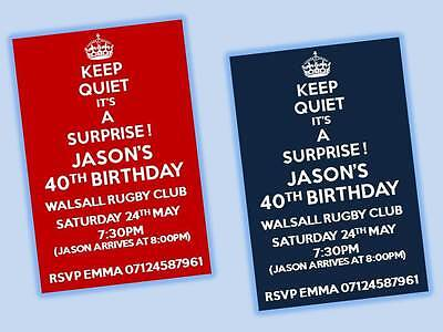 10 X Personalised Surprise Birthday Party Invitations 18 21 30 40 Invites Rr1