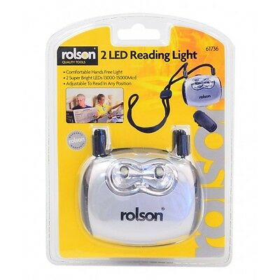 Rolson 61736 2 LED Reading Light Super Bright with Lanyard & Clip Hands Free