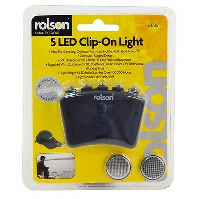 Rolson 61735 5 LED Clip On Light Super Bright Hands Free Head Torch Camping Etc
