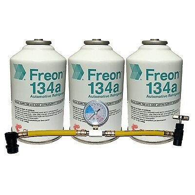 134a Kit 3 Cans DuPont Chemours Refrigerant R134a & Can Tap w/Gauge