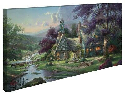 Thomas Kinkade Clocktower Cottage 16 x 31 Wrapped Canvas
