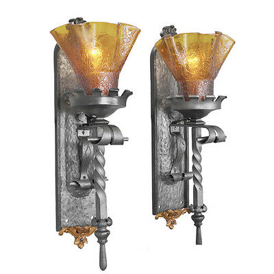 Gothic Medieval Torch Wall Sconces Pair with Crackle Glass Art Shades (ANT-437)