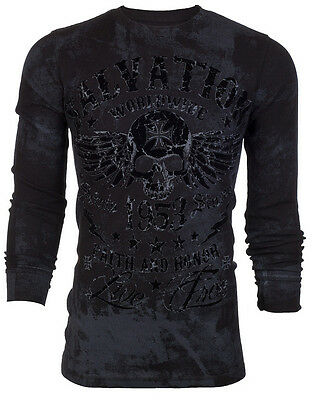 ARCHAIC by AFFLICTION Mens THERMAL T-Shirt BLACK TIDE Skull Biker MMA UFC $58 a