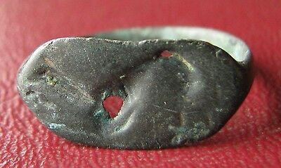 Authentic Ancient Artifact   Unidentified BRONZE RING SZ: 8 1/2 US 18.5mm 11942