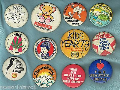 #T43. Lot Of 12 Tin Badges