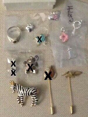 Lot Silver Jewelry Marcasite Ring, Pendants & Charms, Broaches / Pins & Watch