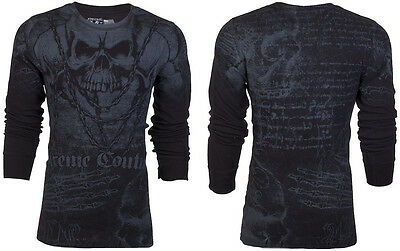 XTREME COUTURE by AFFLICTION Men THERMAL Shirt KILLER Skulls Biker MMA UFC $58 b