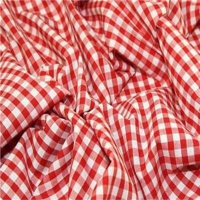 """RED 1/4"""" Gingham Check poly cotton material sold by the metre 115cm"""