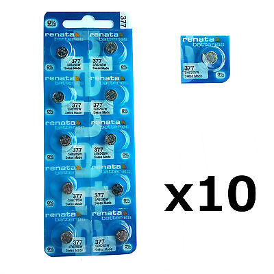 10 x Renata 377 1.55v Watch Cell Batteries SR626SW Mercury Free