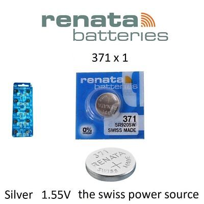1 x Renata 371 1.55v Watch Cell Battery SR920SW Mercury Free