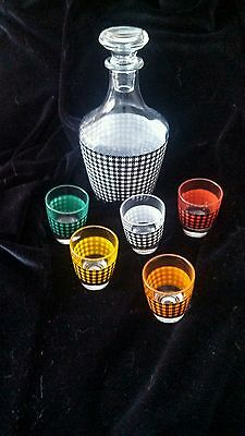 GLASS DECANTER WITH 5 SHOT GLASSES FROM FRANCE