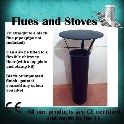 Rain cap chimney cowl 5 inch 6 inch flue pipe flexi liner for wood burning stove
