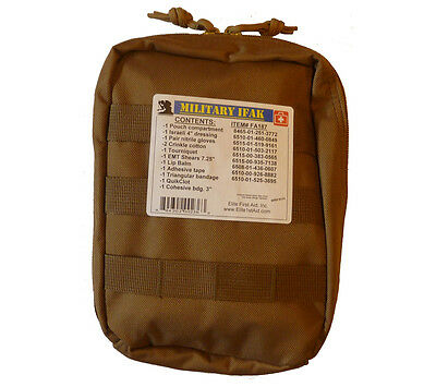 Individual First Aid Kit with Quikclot Coyote Molle Pouch Tactical Military Ifak