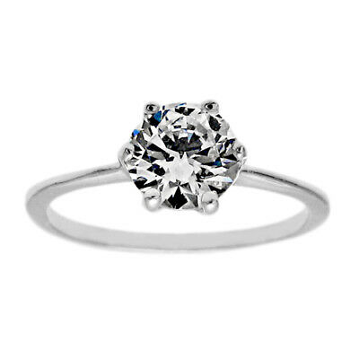 925 Sterling Silver Child's 0.65 Carat Solitaire CZ Ring Size 3-6