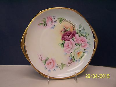 Czech Hand Painted Cake Plate with LUSH ROSES