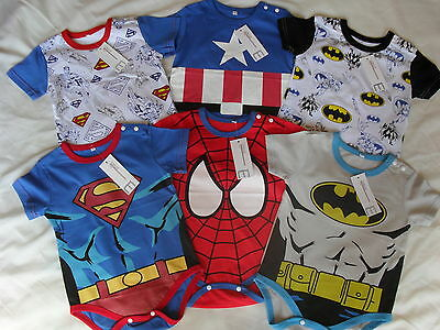 Superhero Baby Grow/Romper Suit *Superman*Batman*Captain America*Spiderman*