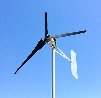 Wind Turbine Generator LOW WIND 1000 Watt 3 black Blade 48 DC 3 Wire 3.75 kWh U