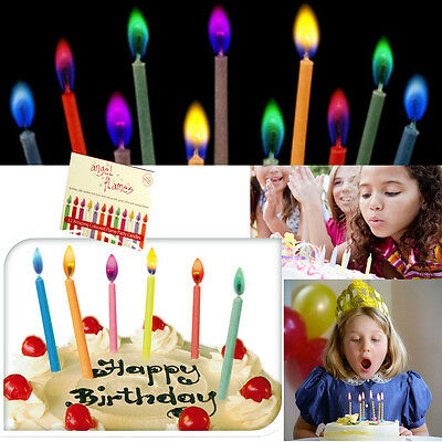 Set 12 Coloured Flame Birthday Cake Candles Kids Adults Novelty Fun Party Magic