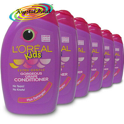 6x L'Oreal Loreal Kids Gorgeous Grape Conditioner 250ml