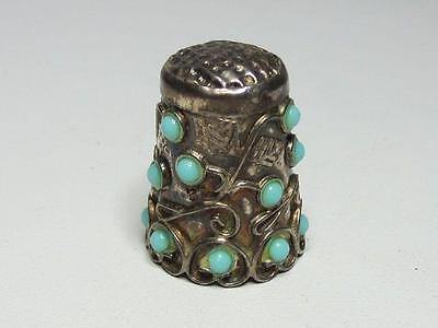 Vintage Mexican Sterling Silver Turquoise Glass Studded Decorative Thimble