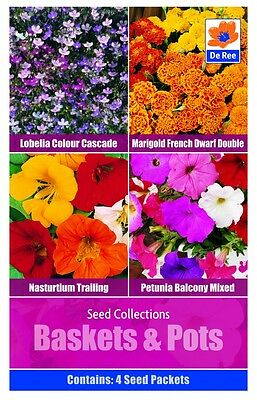 De Ree Seeds - Baskets and Pots  4 Types  Nastutium - Lobelia - Petunia and more
