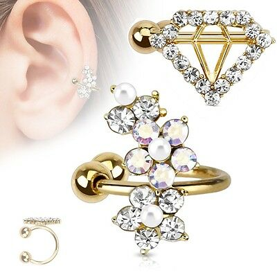 Fake Cuff Ohrklemme Gold Helix Cartilage Ohr Piercing Diamant Tragus Ohrstecker