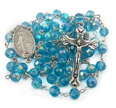 """Catholic Rosary Light Blue Beads Turquoise Necklace Miraculous Medal & Cross 18"""""""