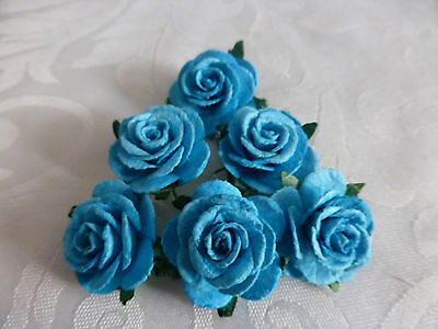 6 Rose Flower Hair Pins Bobby Turquoise 25Mm Wedding Bridesmaid Party