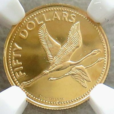 1981 Fm Gold Bahamas $50 Flying Flamingos Ngc Proof 67 Ultra Cameo 2,050 Minted