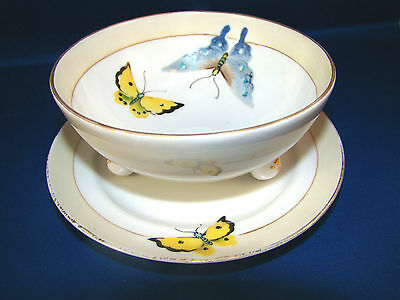 Vintage Hand Painted NIPPON Footed Bowl & Saucer Set Butterfly Pattern @22