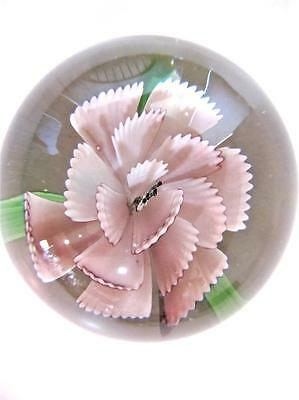 Paperweight Art Glass Vintage Pink Carnation Flower 2 in. tall Clear Glass