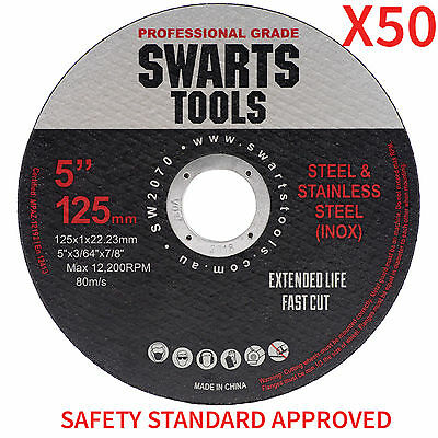"50 x 5"" 125MM CUTTING DISC WHEEL THIN ANGLE GRINDER CUT OFF METAL STEEL FLAP"