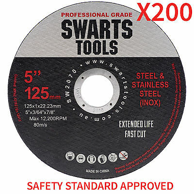 """125mm 5"""" CUTTING DISC WHEEL THIN ANGLE GRINDER CUT OFF METAL STEEL STAINLESSx200"""