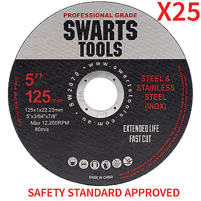 "25 x 5"" 125MM CUTTING DISC WHEEL THIN ANGLE GRINDER CUT OFF METAL STEEL FLAP"
