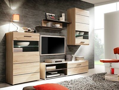 wohnwand can can 5 eiche sonoma mit led beleuchtung wohnzimmer anbauwand eur 320 00 picclick de. Black Bedroom Furniture Sets. Home Design Ideas